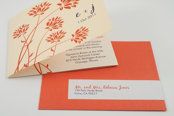 Unique Orange and Navy Tri-Fold Wedding Invitation with Perforated RSVP Postcard, Sample - POPPY