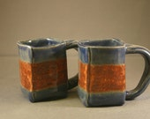 striped espresso mug pair