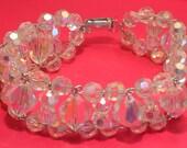 Vintage crystal bead bracelet.  Aurora Borealis