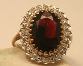 Vintage diamond and garnet ring. 9ct gold.  UK size P. US size 7.5