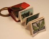 Vintage Scottish photograph book keychain key ring. Tartan. Bonnie Scotland
