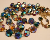 Vintage open back crystal necklace. Multi colored. 2 rows