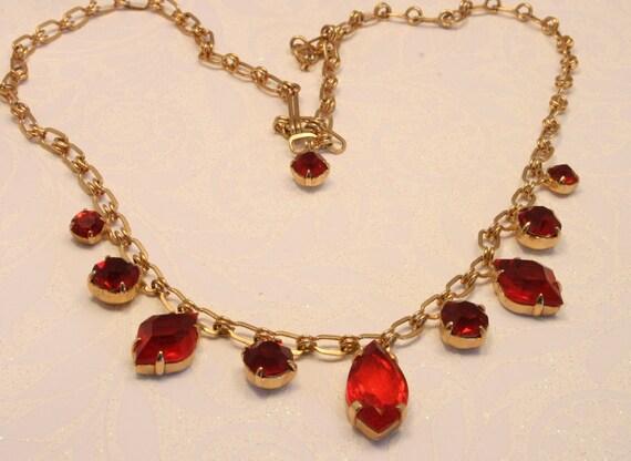 Vintage red glass rhinestone necklace