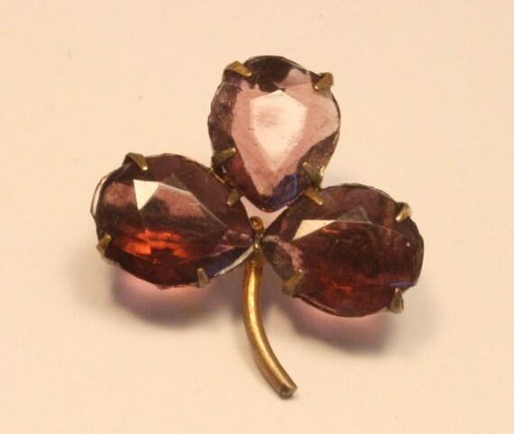 Vintage amethyst purple glass trefoil brooch. Lucky clover. Edwardian