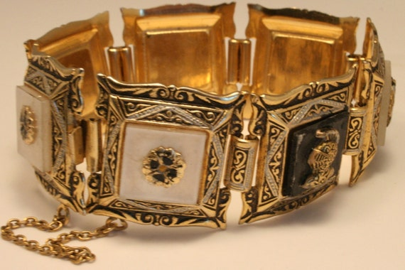 Vintage Toledo Damascene bracelet. Black and white
