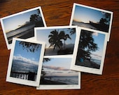 Maui Photo Note Cards, Hawaiian, Maui Dawn Hawaii Photography, Destination Wedding Favor, Signed by Artist, Set of Six, Blank, Pink Blue