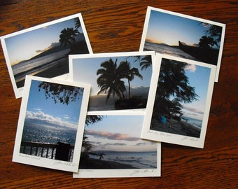 Maui Photo Note Cards, Hawaiian, Maui Dawn Hawaii Photography, Destination Wedding Favor, Signed by Artist, Set of Six, Blank, Pink Blue
