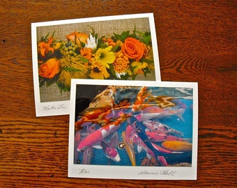 Hawaii Photo Note Cards, Tropical Scenes, Hawaiian Photos, Cards Signed by Artist, Orange and Gold, Floral Leis Tropical Fish Tiki Torches