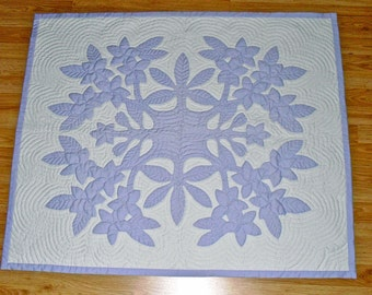 Hawaiian Plumeria Quilt, Wall Hanging, Baby Quilt, Custom Order, Made To Order, Color of Your Choice
