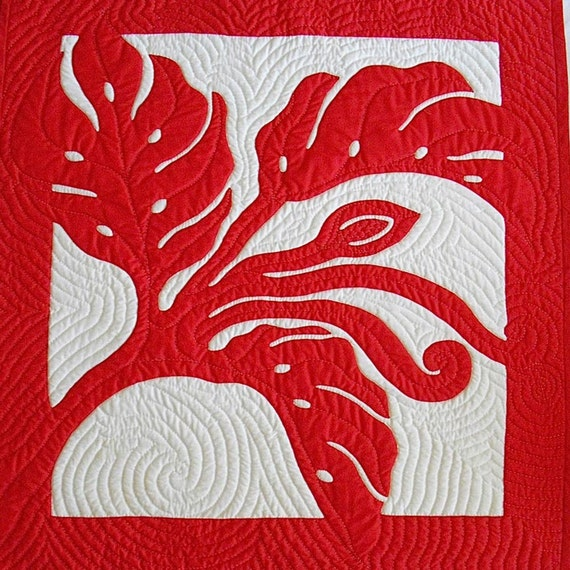 Hawaiian Monstera Quilted Wall Hanging, Hand Appliquéd and Hand Quilted, Original Design, Custom Order, Echo Quilting