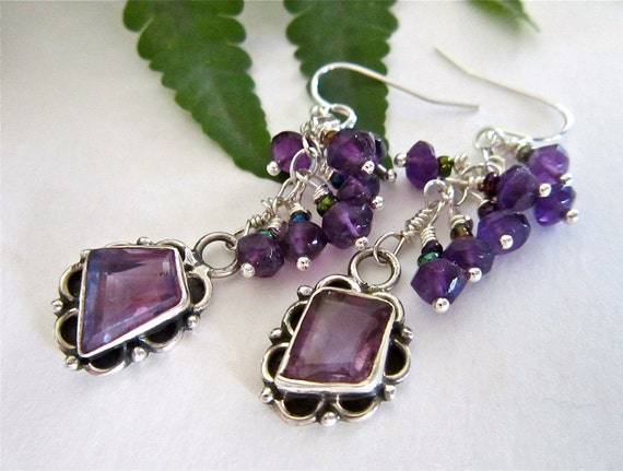 Amethyst Earrings in Sterling Silver, February Birthstone, Amethyst Dangle, Purple, Gems, Plum Grape Violet, February Birthday, Semiprecious