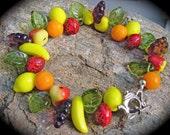 Carmen Miranda fruit bracelet sterling silver teapot clasp