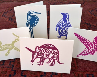 Totem Animal Cards - Mixed 5 Pack - Penguin, Heron, Aardvark, Hummingbird, Lizzard