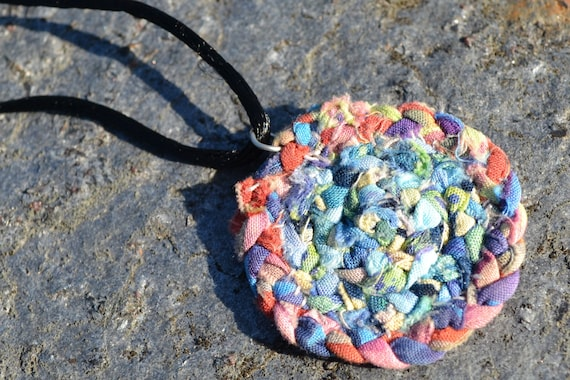 Miniature Braided Rug Necklace Multi Colored