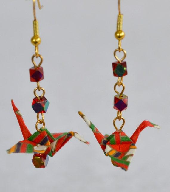 Origami Crane Earrings in Red