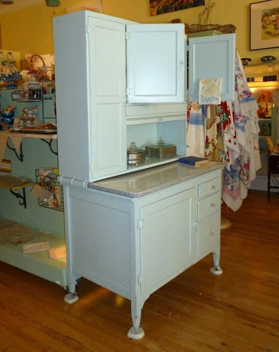 Pale Robin's Egg Blue Hoosier Cabinet by by ... - photo#24