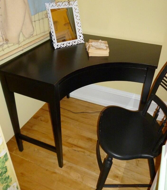 Vintage Black Mid Century Wood Corner Desk