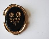 Brooch--Vintage Brooch--Vintage Black Brooch---Vintage Gold Brooch---Black and Gold Brooch---Floral Brooch