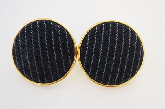 Fabric Covered Button Earrings--Fabric Button Earrings--Vintage Button Earrings--Black Pinstripe Button Earrings