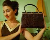 RESERVED FOR selketca - Vintage 1960s LESCO Brown Alligator Handbag