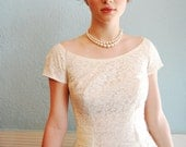 """Reserved for Lauren - Vintage 1950s White Lace Cap Sleeve Tea Length Wedding Dress - Size Small - 25"""" Waist"""