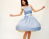 Vintage 1960s Full Skirt Dress - 60s Full Skirt Dress - Lavender Cotton