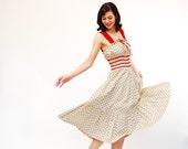 Vintage 1960s Summer Dress - 60s Floral Dress - Red Floral Print