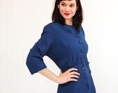 Vintage 1950s Wool Dress - 50s Shirtwaist Dress - Denim Blue