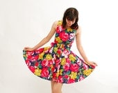 Vintage 1980s Summer Dress - 80s Party Dress - Bright Painted Floral Print