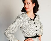 Vintage 1960s Suit - 60s Rayon Suit - Black and White Chevron Print