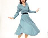 Vintage 1950s Wool Dress - 50s Winter Dress - Cornflower Blue