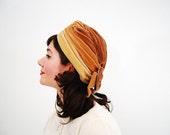 Vintage 1960s Turban - 60s Velvet Hat - Shades of Honey