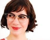 Vintage 1950s Eyeglasses - 50s Horn Rimmed Glasses - Charcoal Wood Grain