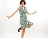 Vintage 1960s Scooter Dress - 60s MOD Dress - Forest Green & White Polka Dot Print