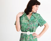 Vintage 1970s Dress - 70 Shift Dress - Green Geometric Print - Plus Size
