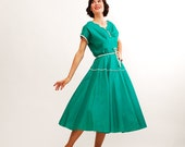 Vintage 1950s Dress - 50s Summer Dress - Ultramarine Green
