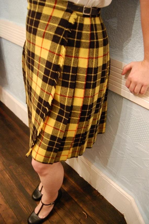 Vintage 1960s Yellow And Black Tartan Plaid School Girl Wool