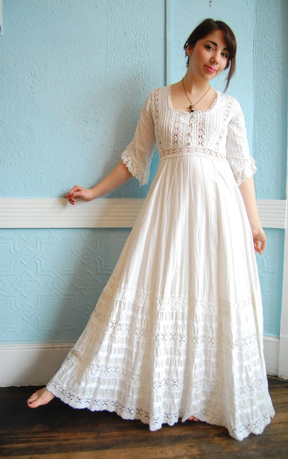 Vintage 1970s White Cotton Mexican Wedding Dress With Lots Of