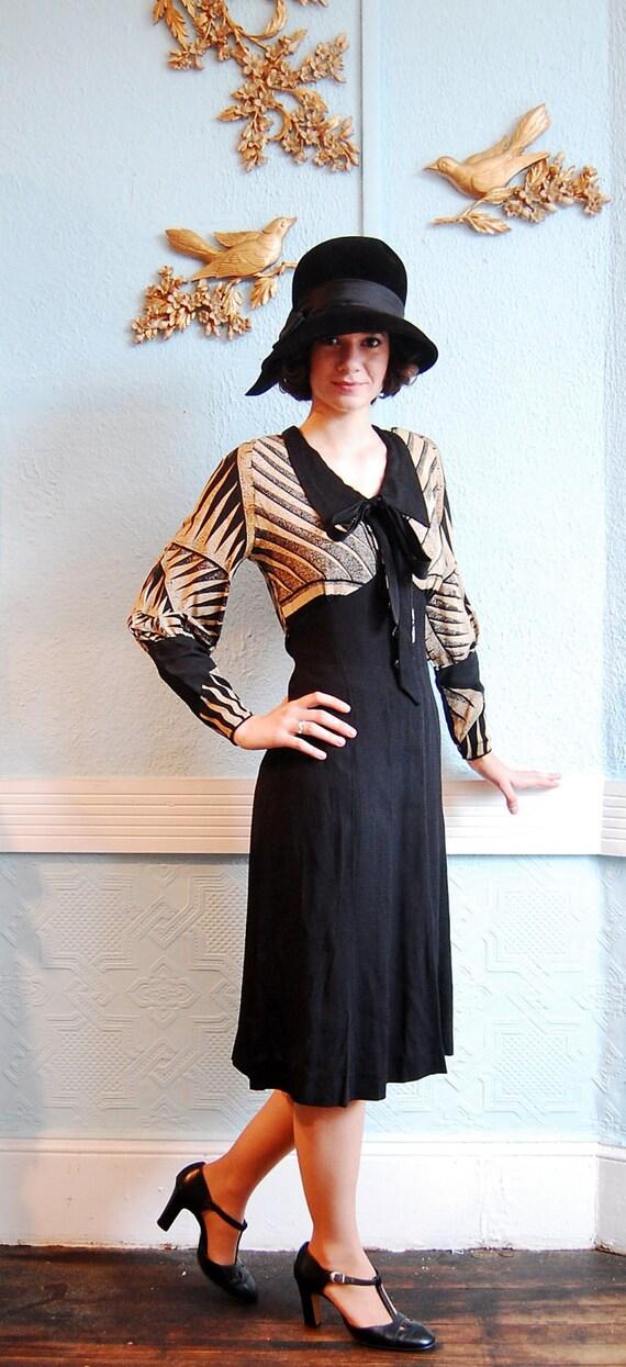 Vintage 1940s Color Block Swag Dress: Vintage 1930s Dress 30s Dress Black & Tan Art Deco