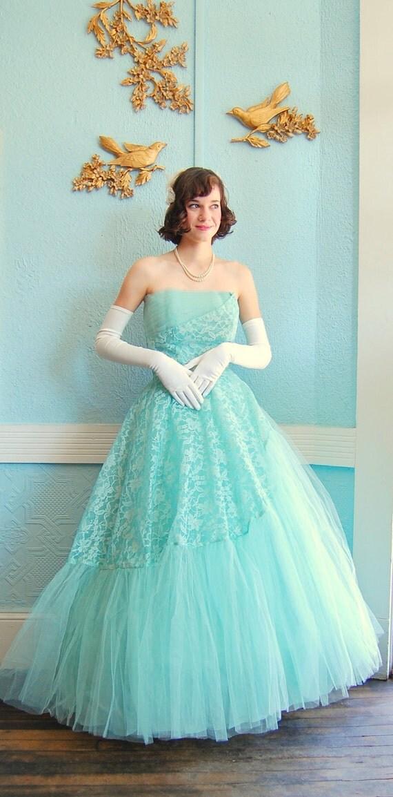 R E S E R V E D Vintage 1950s Dress 50s Prom Dress