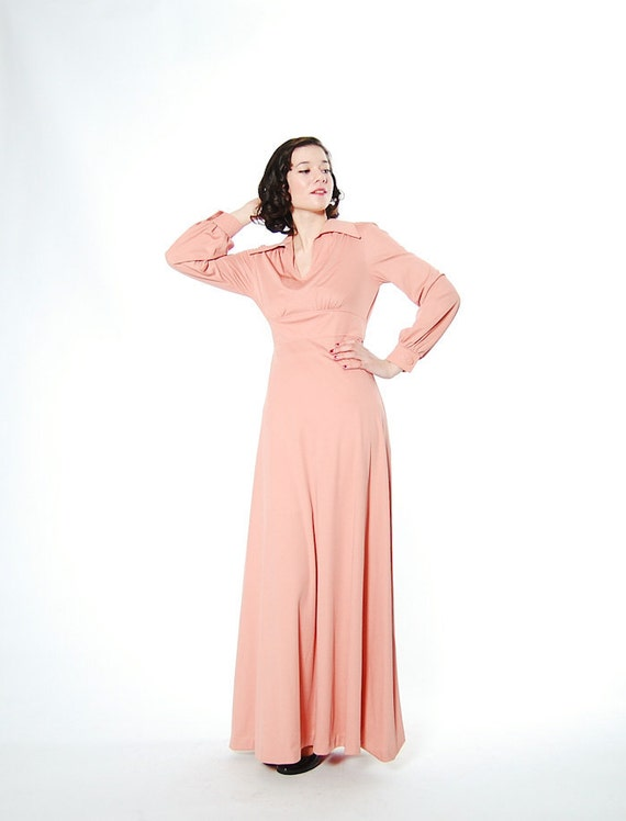 Clearance - Vintage 1970s Maxi Dress - 70s Long Dress - Neutral Nude