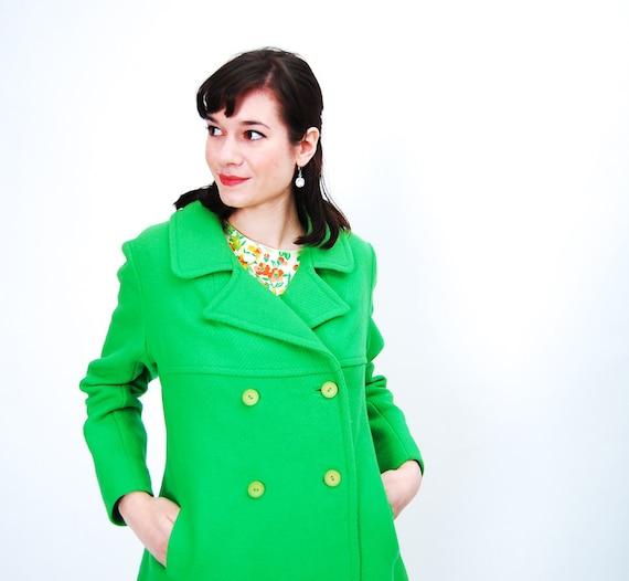 Vintage 1960s Pea Coat - 60s Wool Jacket - Bright Kelly Green