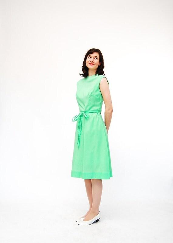 Vintage 1960s Summer Dress - 60s Spring Dress - Seafoam Green