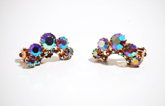 Vintage 1960s Earrings - 60s Rhinestone Earrings - Iridescent Crescents