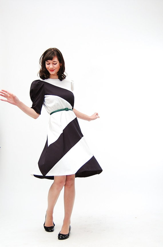 Vintage 1980s Dress 80s Party Dress Black And White Stripe