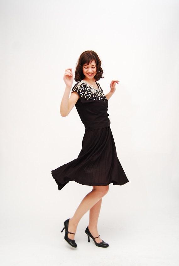 Vintage 1980s Cocktail Dress - 80s Party Dress - Black - Rhinestone& Sequin Neckline