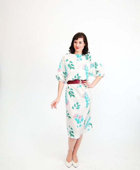 Vintage 1980s Floral Dress - 80s Summer Dress - Pink & Green Floral Print - Plus Size