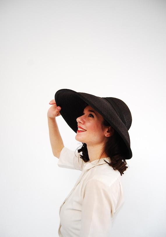 Vintage 1930s Hat - 30s Wide Brim Hat - Black Straw