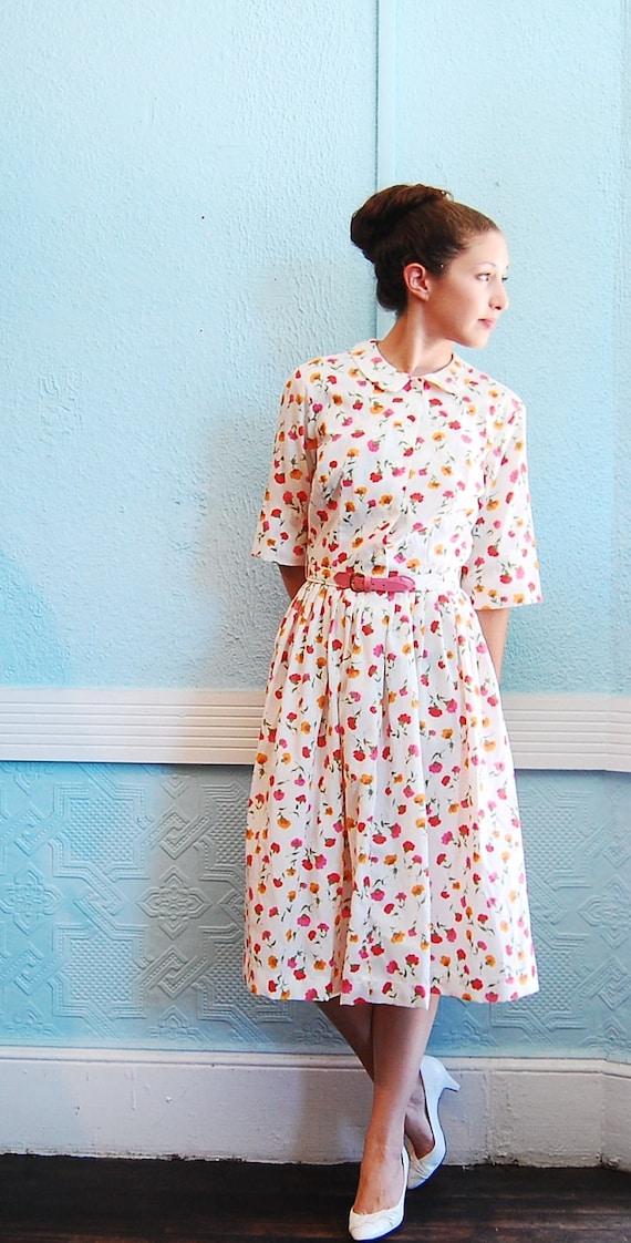 Vintage 1960s Shirtwaist Dress - 60s Shirtwaist Dress - Orange & Pink Floral Print