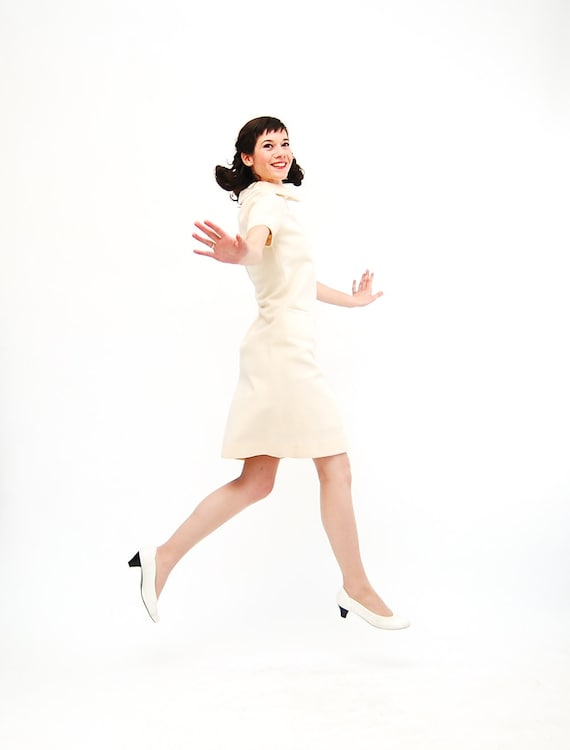 Vintage 1960s Dress - 60s Knit Dress - Pale Ivory with Rhinestone Trim
